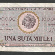 ROMANIA 100000 100.000 LEI 25 ianuarie 1947 [11] BNR vertical - Bancnota romaneasca