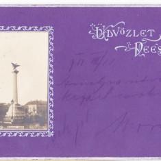 DEJ monument disparut carte postala circulata in 1901 - Carte Postala Transilvania pana la 1904, Printata