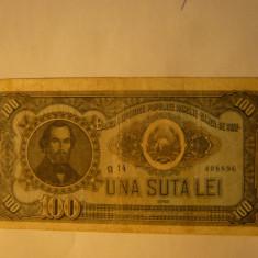 Bancnota 100 lei 1952 N.Balcescu , cal.medie