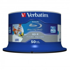 BD-R Verbatim SL DATALIFE 6X 25GB 50PK SPINDLE WIDE PRINTABLE NO ID