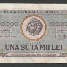 ROMANIA  100000 100.000  LEI  25  ianuarie  1947  BNR  vertical  [02]  VF+