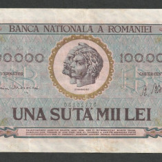 ROMANIA 100000 100.000 LEI 25 ianuarie 1947 BNR vertical [02] VF+ - Bancnota romaneasca