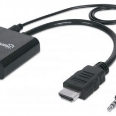 Cablu adaptor HDMI-Male/ VGA-Female, Audio, Black, Polybag