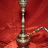 Narghilea, shisha, hookah, alama argintata, gravura manuala, vintage