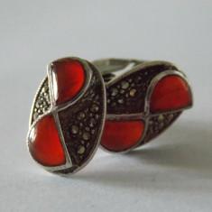 Set cercei si inel cu carneol si marcasite vintage -1434 - Set bijuterii argint