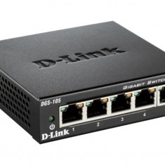Switch 5 porturi 10/100/1000 Gigabit, 5 porturi Gigabit, Capacity 10Gbps, desktop, fara management, metal, negru - Placa de retea D-link