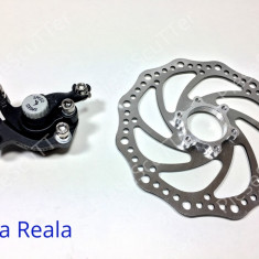 Etrier Complet Frana Spate - Fata + Disc Frana Bicicleta - 160mm - Piesa bicicleta