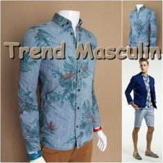 Camasa Barbati Slim Fit Cambrata Casual Eleganta Blug Albastra Des Floral Color, M, S, Maneca lunga, Albastru