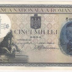 ROMANIA 5000 LEI 1931 SUPRATIPAR 1940 UNC - Bancnota romaneasca