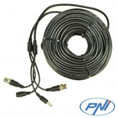 Cablu video si alimentare PNI CCTV 30m pentru camera de supraveghere