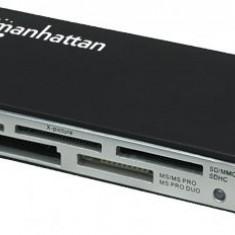 Card Reader Manhattan, 60-in-1, Hi-Speed USB 2.0, Black, Blister