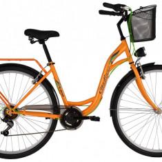 Bicicleta DHS Citadinne 2834 (2017) Portocaliu, 505mmPB Cod:21728345040 - Bicicleta de oras DHS, 13 inch, Otel