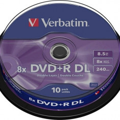 DVD+R Verbatim DL 8X 8.5GB 10PK SPINDLE MATT SILVER