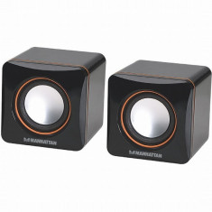 BOXE portabile Manhattan USB Powered, 2x 3W, Black, Retail Box