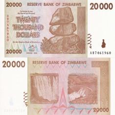 ZIMBABWE 20.000 dollars 2008 UNC!!! - bancnota africa