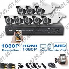 Kit supraveghere CCTV 8 camere Interior&Exterior AHD, 1080p, Meniu lb. romana