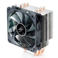 Cooler DeepCool CPU, universal, soc. LGA2011/1366/115x/775 & FMx/AMx/940/939/754, Al+Cu, 4x heatpipe, fan blue LED 120x25mm, 130W ''GAMMAXX400