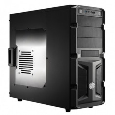 CARCASA Cooler Master fara sursa, K350, mid-tower, ATX, 1* 120mm fan (inclus), I/O panel, side window, black