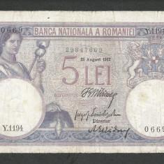 ROMANIA 5 LEI 21 august 1917 [1] Filigran Traian & Minerva - Bancnota romaneasca