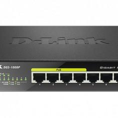 Switch 8 porturi 10/100/1000 Gigabit, 8 porturi Gigabit, 4 porturi PoE 802.3af, PoE Budget 52W, Capacity 16Gbps, dektop, metal, negru - Placa de retea D-link