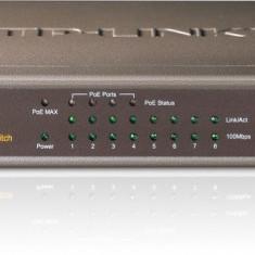 PoE (Power Over Ethernet) Switch 8 Porturi 10/100M (4 porturi PoE), carcasa metal - Placa de retea Tp-link