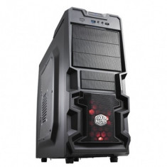 CARCASA Cooler Master fara sursa, K380, mid-tower, ATX, 1* 120mm red LED fan (inclus), I/O panel, side window, black