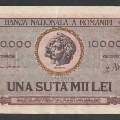 ROMANIA 100000 100.000 LEI 25 ianuarie 1947 BNR vertical [01] XF++ - Bancnota romaneasca