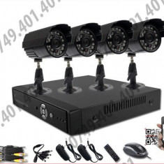 Kit supraveghere CCTV 4 Camere Interior&Exterior HD, 720p, Meniu lb. romana + HARD Toshiba 500GB