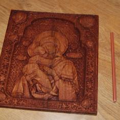 Icoana lemn stejar, Maica Domnului cu Pruncul - Icoana pe lemn
