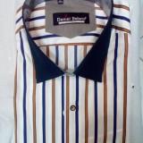 Camasa de barbati, cu dungi, din bumbac de calitate (Culoare: ALB-ALBASTRU, Marime: M-38)