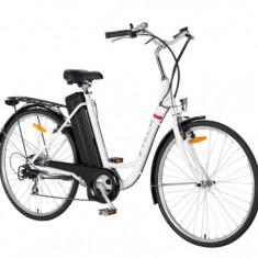 ZT-32-Bicicleta electrica cu cadru otel BATERIE LI-ION BARCELONA LITHIUM - Bicicleta electrice, 28 inch, 26 inch, Numar viteze: 6, Negru-Alb