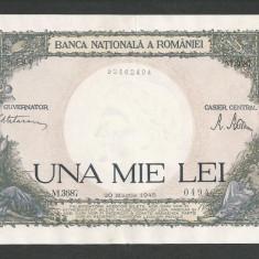ROMANIA 1000 1.000 LEI 20 martie 1945 fond verde [5] VF - Bancnota romaneasca