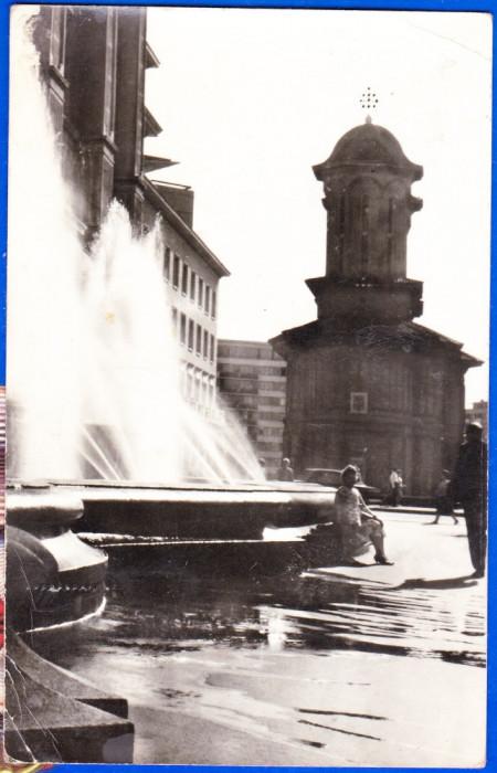 C75 RPR CP vedere circulata 1968 Bucuresti,Biserica Cretulescu,fantana arteziana
