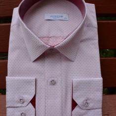 Camasa slim de barbati, material din bumbac usor elastic, alb-roz - Camasa barbati, Maneca lunga