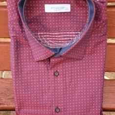Camasa in tendinte de culoare roz, material deosebit cu reflexe - Camasa barbati, Maneca lunga