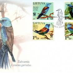 LITUANIA 2008, FDC, Fauna - Pasari, Europa