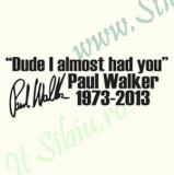 Paul Walker_Tuning Auto_Cod: CST-473_Dim: 25 cm. x 9.2 cm.