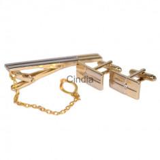 Set butoni cu ac cravata model GOLD + cutie  cadou