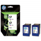 Cartus cerneala Original HP Tri-color 57 2-pack, compatibil DJ450/5xxx/96xx/PSC1110/1xxx/2xxx, 2x17ml, C9503AE