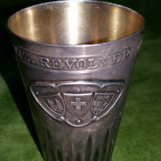PAHAR VECHI DIN ARGINT - TROFEU TRAGERE CU PISTOL SI REVOLVER - ELVETIA 1927, Pahare