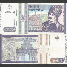 ROMANIA 5000 5.000 LEI 1993 a UNC [01] aproape necirculata - Bancnota romaneasca