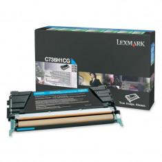 Toner Original pentru Lexmark Cyan, compatibil C736/X736/738, 10000pag