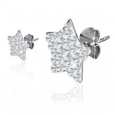 Cercei cu șurub din oțel, stele cu zirconii transparente - Cercei inox