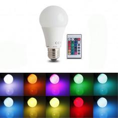 Bec LED A60, 7W, E27, 3W, RGB si lumina alba, Forever, control telecomanda, Becuri LED