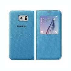 Husa textil Samsung Galaxy S6 S-View EF-CG920BL albastra Blister Originala - Husa Tableta