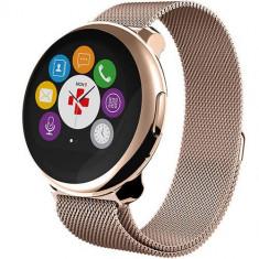 Smartwatch MyKronoz ZeRound Premium Curea Metal Auriu + Curea Silicon Negru Auriu