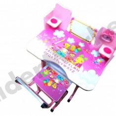 Birou pentru copii reglabil pe inaltime cu scaunel 71x 49 x 95 cm roz - Masuta/scaun copii