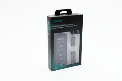 Alimentator auto 4 x USB, cablu prelungitor, pt. bricheta auto, SPACER foto