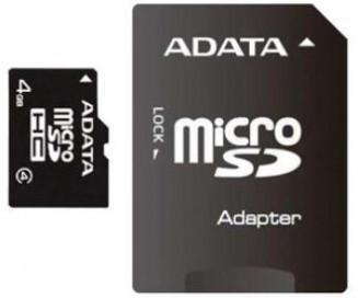 A-DATA MicroSDHC 4GB, SDHC Class 4 SD Adapter foto