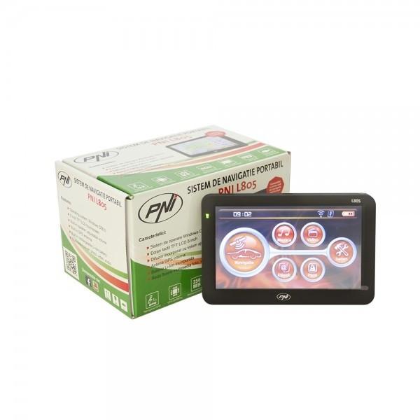 Sistem de navigatie portabil PNI L805 ecran 5 inch, 800 MHz, 256M DDR3, 8GB memorie interna, FM transmitter
